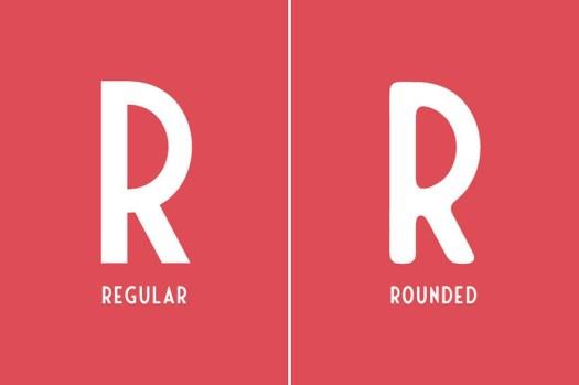 Regular vs rounded version.