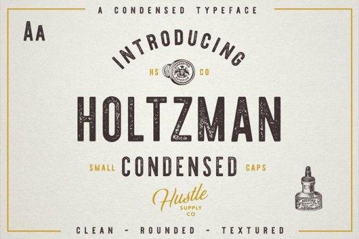 Holtzman condensed vintage font.