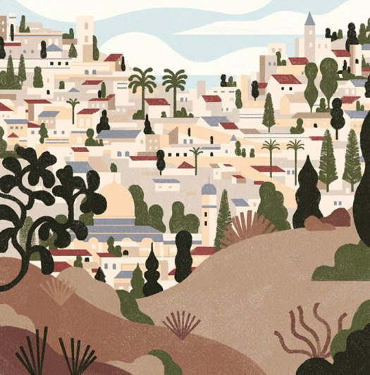 Editorial illustration by Andrea Mongia Jerusalem on the crest line, L'OBS.
