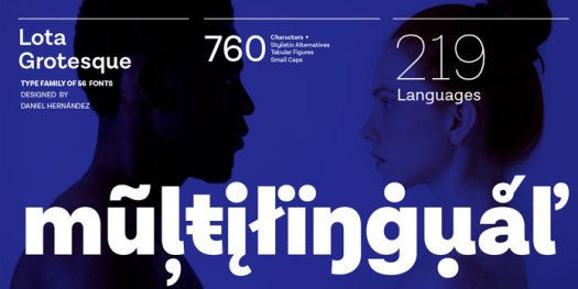 Lota Grotesque font family, multi language support.