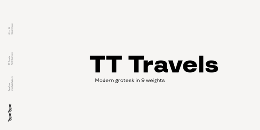 TT Travels, a modern Grotesk font family with 9 weights.