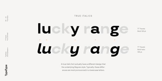 TT Travels font family, True Italics.