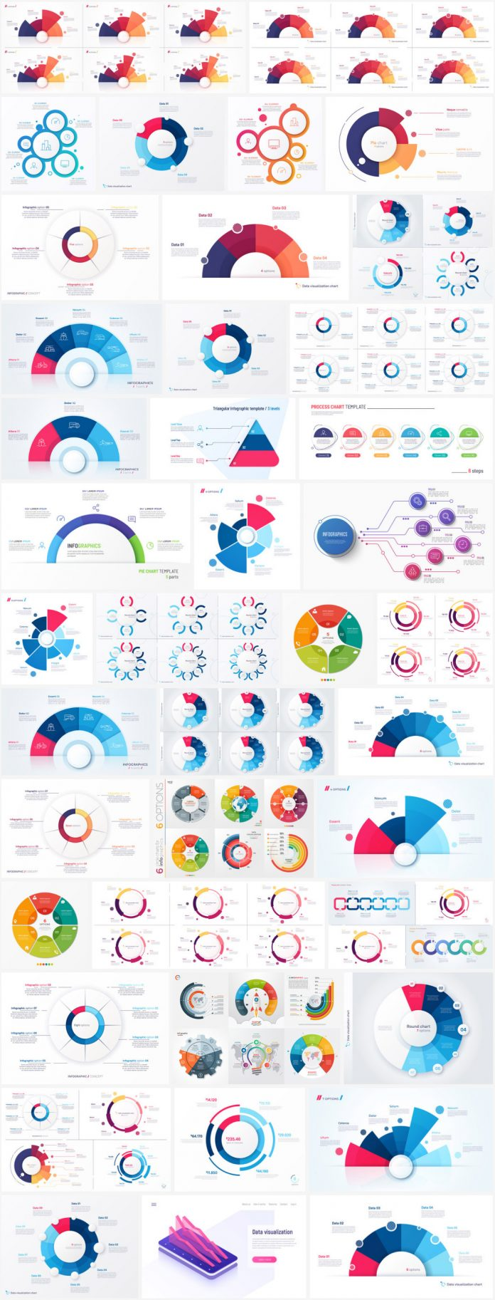 Circular vector charts for web elements and infographics