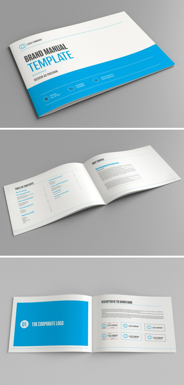 Brand Manual Template with Blue Accents