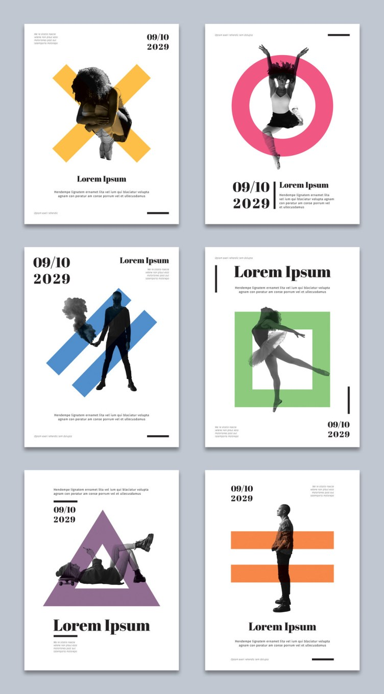 Set of Geometric Flyer Layouts for Adobe InDesign