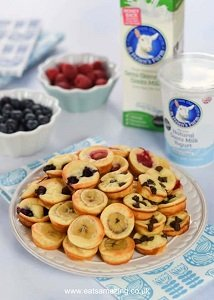 mini pancake bites with yogurt great for baby led weaning