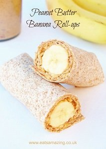 peanut butter banana roll-ups baby led weaning breakfast ideas finger foods first foods