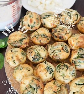 spinach cheese and thyme muffins for baby led weaning first foods, finger foods