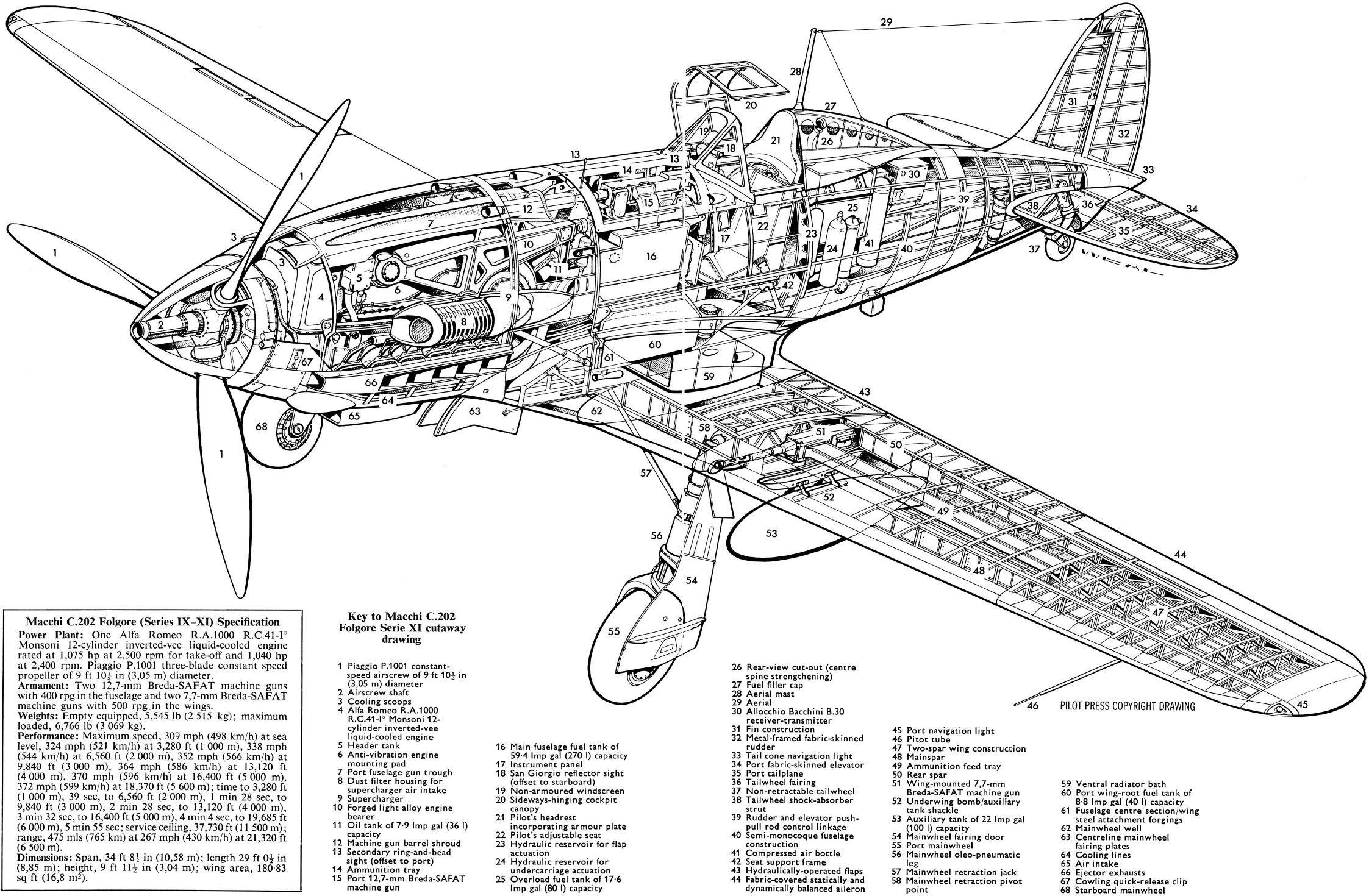 The Cockpit Of An Italian Fighter Macchi Mc202 Folgore