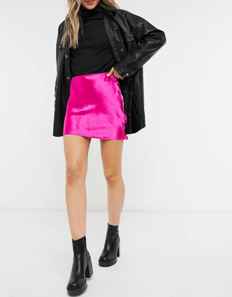 ASOS DESIGN mini high shine satin slip skirt in pink _ ASOS