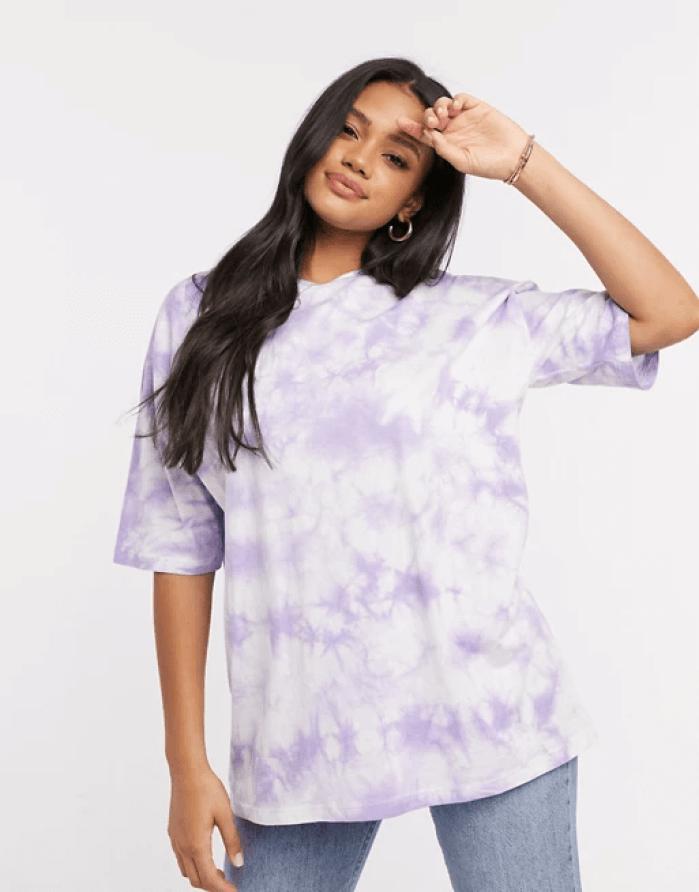 ASOS DESIGN oversized t-shirt in tie dye in lilac