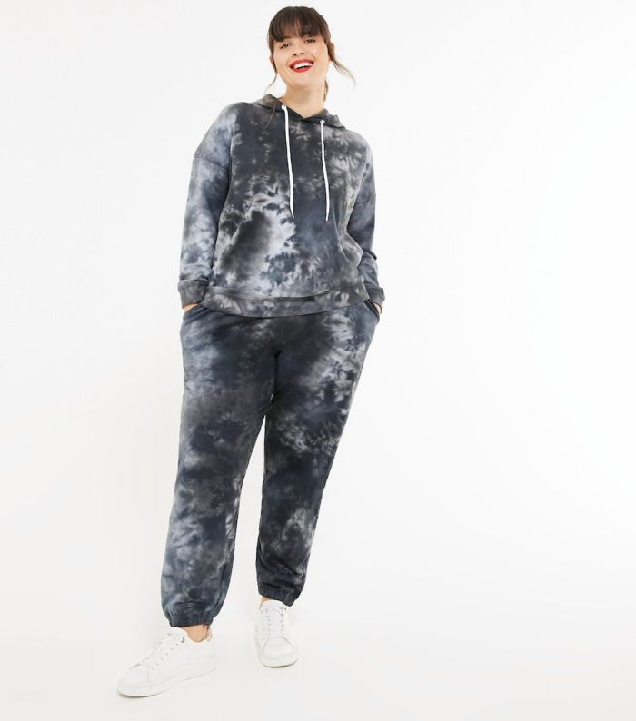Curves Light Grey Tie Dye Cuffed Joggers and hoodie