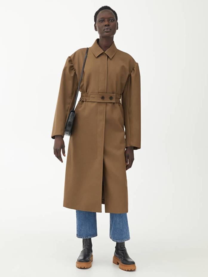 Puff-Sleeve Wool Coat Arket