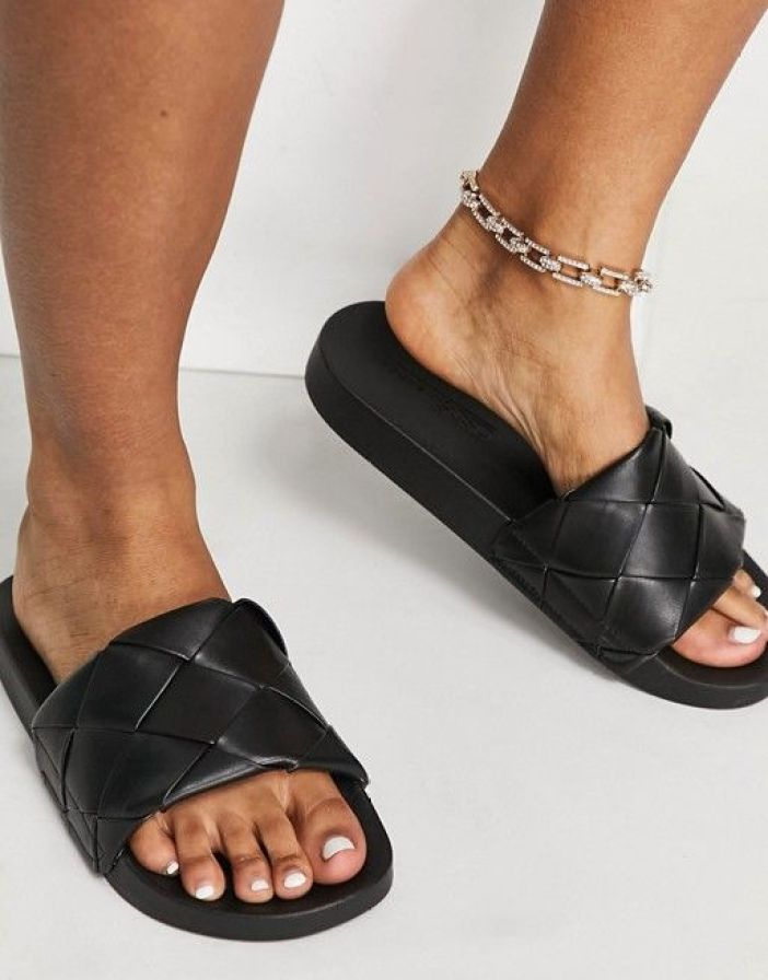 ASOS DESIGN Wide Fit Finley woven sliders in black