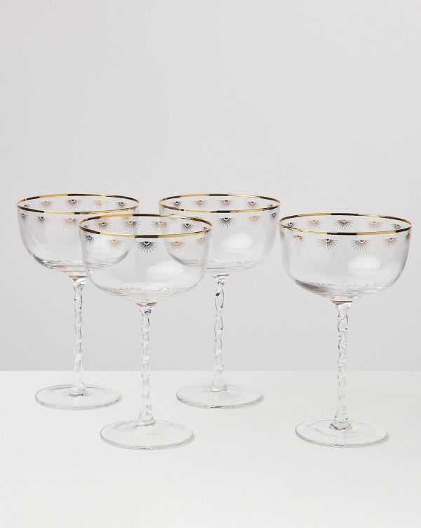 Dora Twist Stem Champagne Saucers Set of Four oliver bonas
