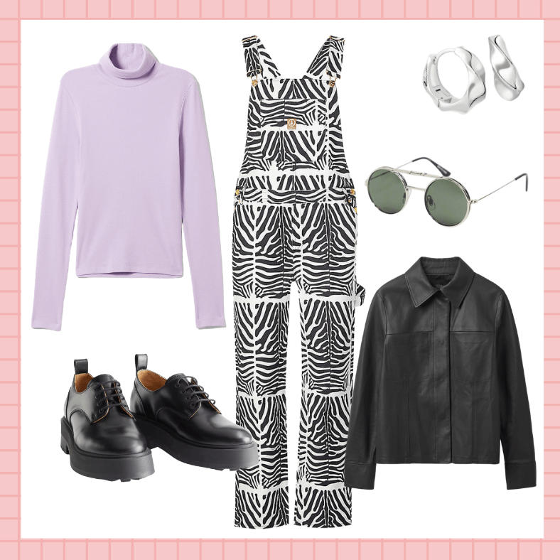 Reef Zebra-print Denim Dungarees, House of Sunny; Leather Overshirt, £250, Cos; Verena Ribbed Turtleneck, £18, Weekday; Chunky Leather Oxfords, £120, & Other Stories; Round Flip Up Sunglasses, £35, Spitfire Lennon at ASOS; Elemental Hoops, £59, Astrid & Miyu