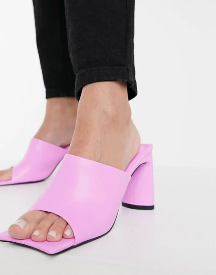 Public Desire Vice heeled mules with statement toe in bubblegum