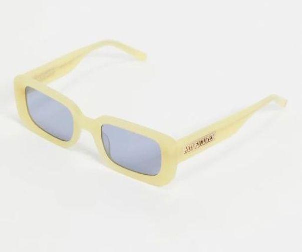 Hot Futures square retro sunglasses in pastel yellow with arm logo