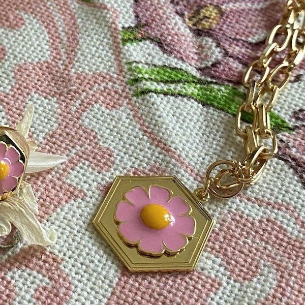 Gold Pink Daisy Necklace €198.00 wilhelmina garcia
