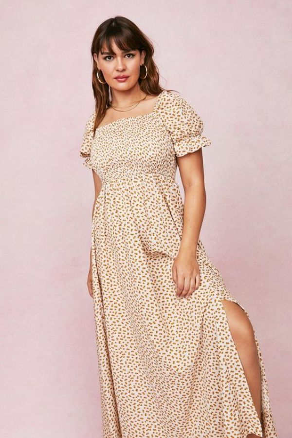 Nasty Gal Plus Size Ditsy Floral Shirred Maxi Dress