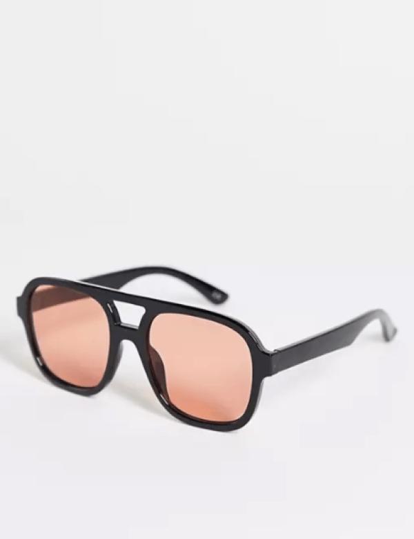 Recycled Frame Oversized Plastic Aviator Sunglasses ASOS