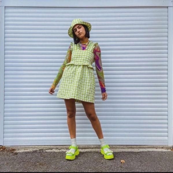 @anishakalsi wearing custom dress from With Love Evie