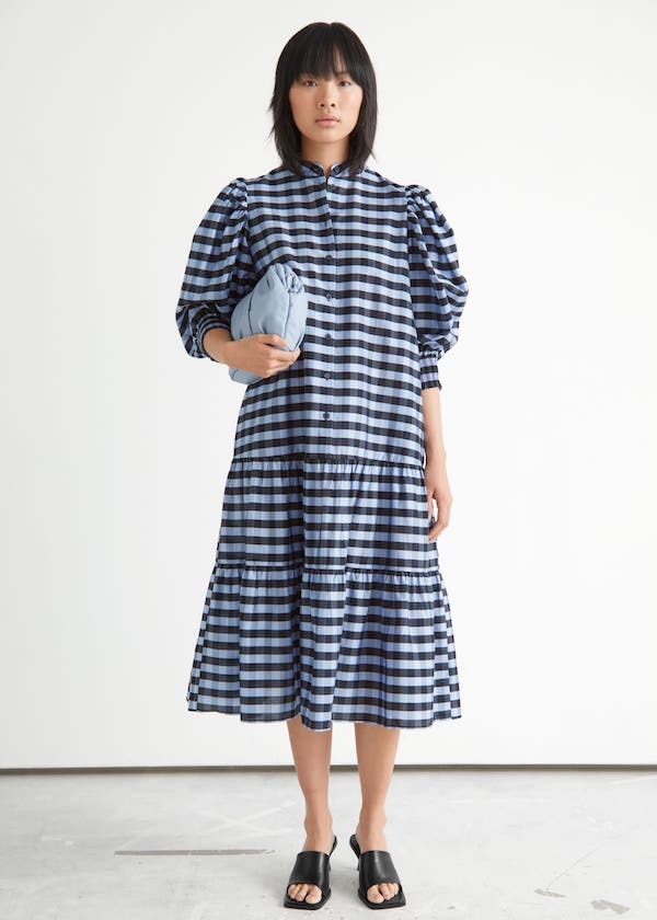 Wide Tiered Puff Sleeve Midi Dress & other stories