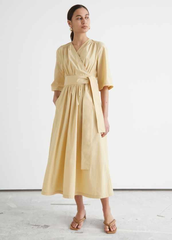 Voluminous Midi Wrap Dress & other stories