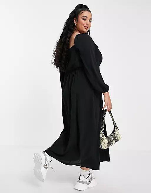 ASOS Square Ruched Neck Midi Dress