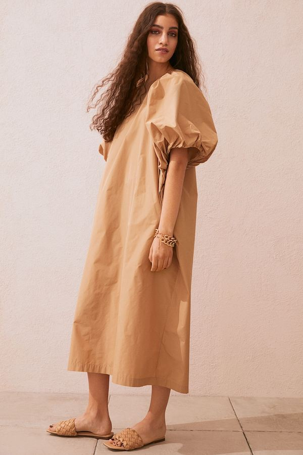 Puff-sleeved Kaftan Dress