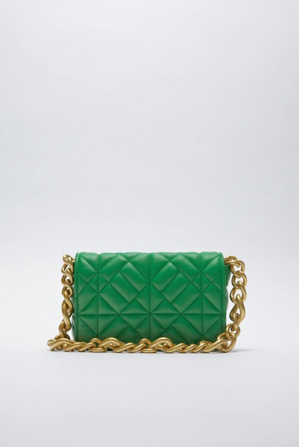 Quilted Shoulder Bag With Chain Zara