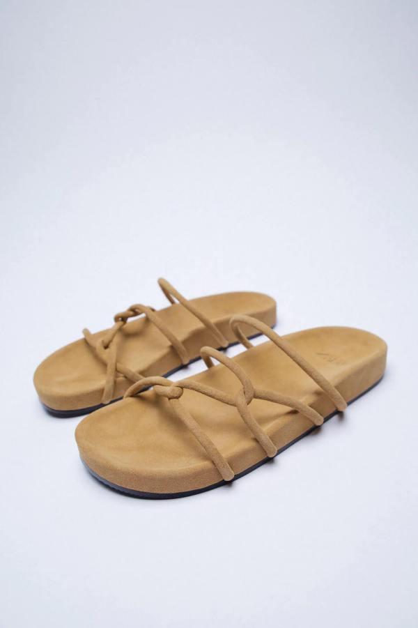 Zara Split Suede Flat Sandals