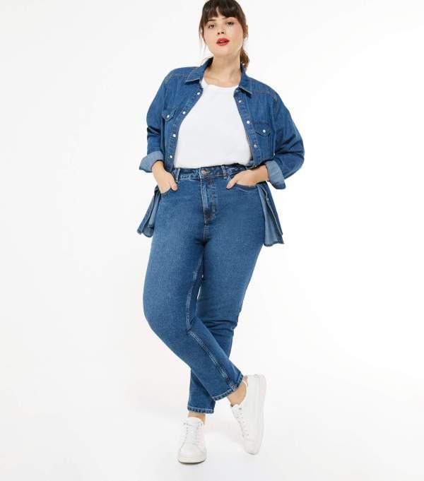 Curves Mid Blue Waist Enhance Tori Mom Jeans New Look
