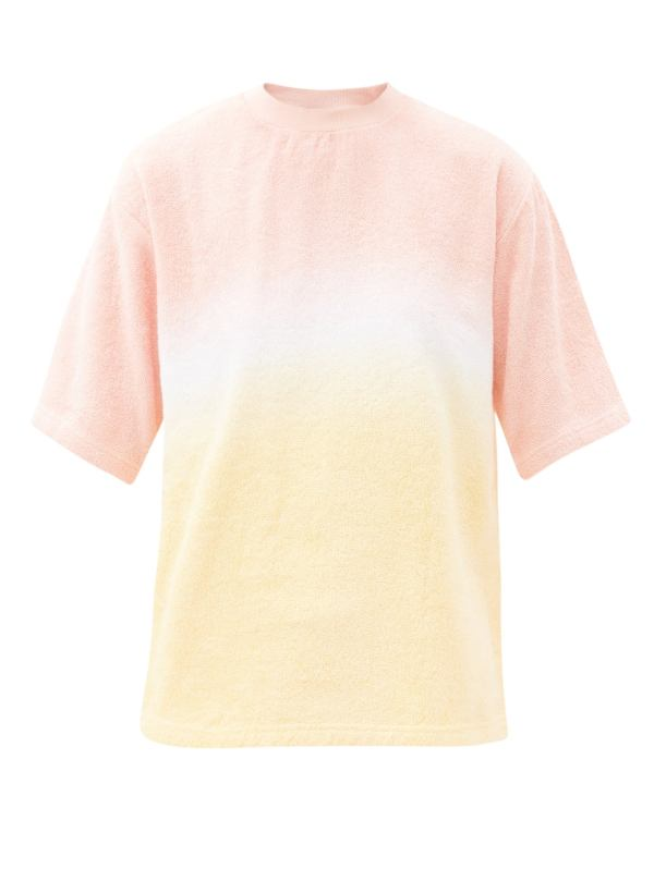 Pink Tie-Dyed Cotton-Terry T-Shirt