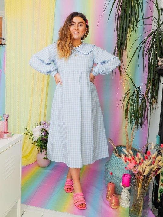 By megan crosby Heli Organic Cotton Gingham Midi Dress