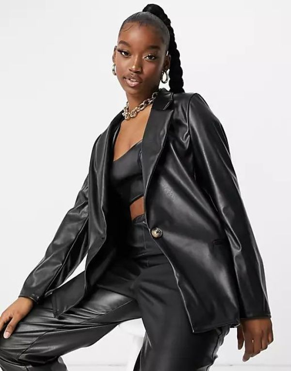 ASOS Jersey Leather Look Dad Suit Blazer