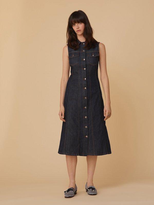 Alexa Chung Buttons Denim Dress