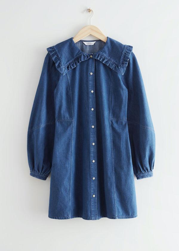 & Other Stories Statement Collar Denim Mini Dress