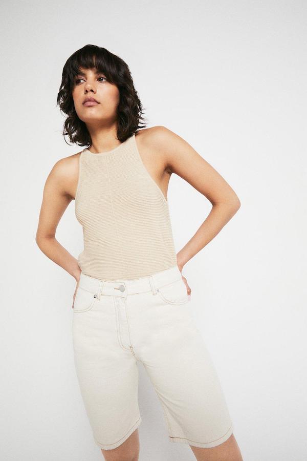 Warehouse Organic Cotton Denim Longline Shorts