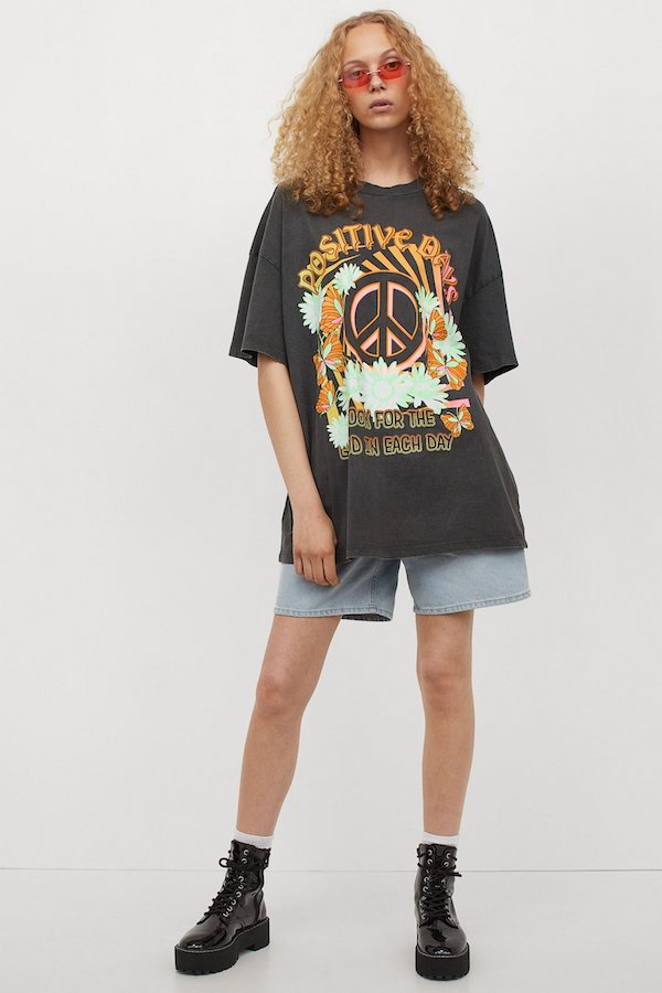H&M Oversized Printed T-Shirt