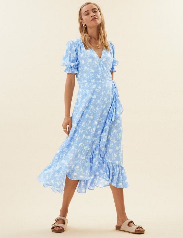 Marks & Spencer Ditsy Floral V-Neck Midi Wrap Dress
