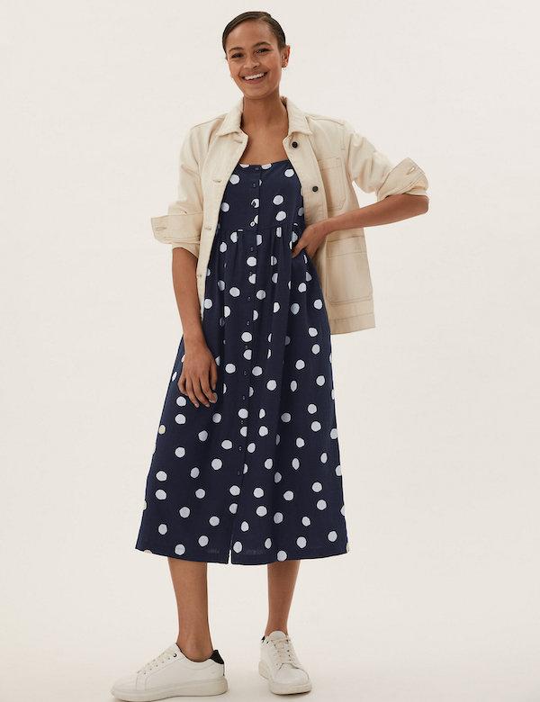 Marks & Spencer Linen Polka Dot Square Neck Midi Dress