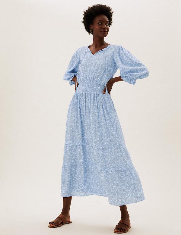 Marks & Spencer Printed Tie-Neck Waisted Midi Dress