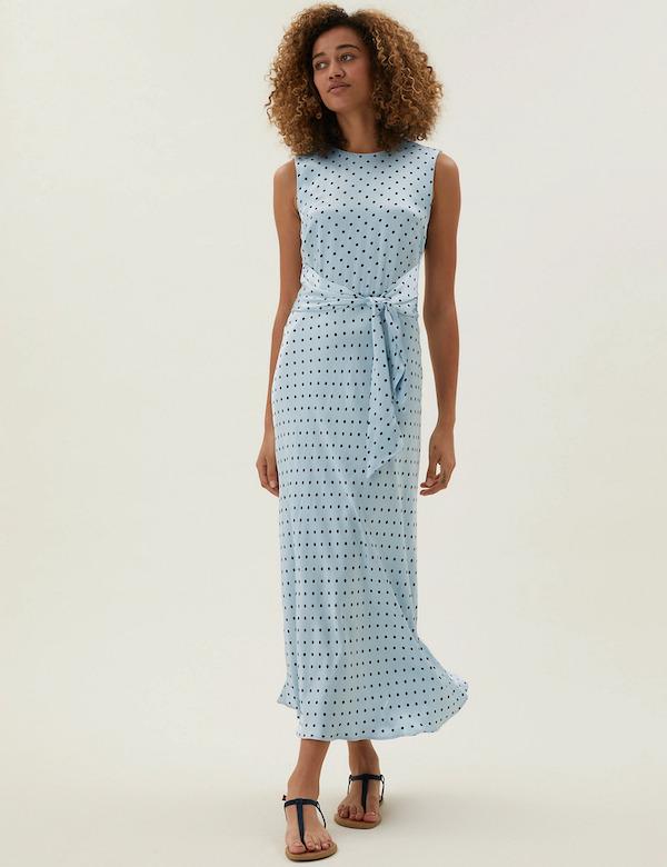 Marks & Spencer Satin Polka Dot Tie-Front Midaxi Dress