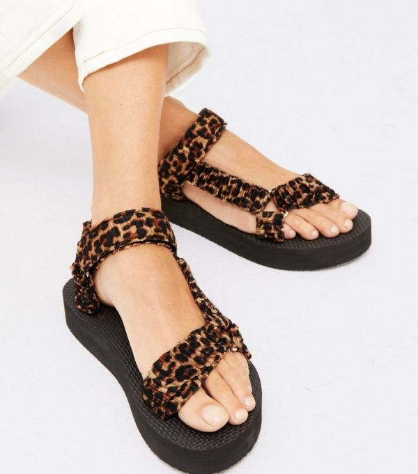 New Look Brown Leopard Print Ruched Strap Chunky Sandals