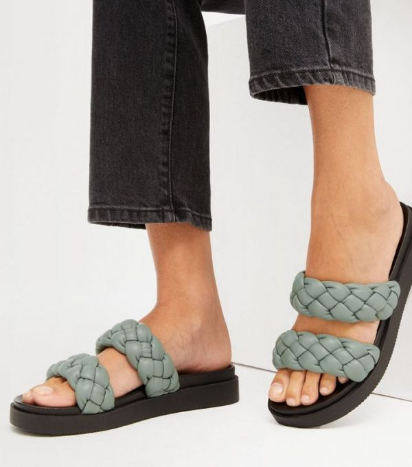 New Look Light Green Leather-Look Chunky Plaited Sliders