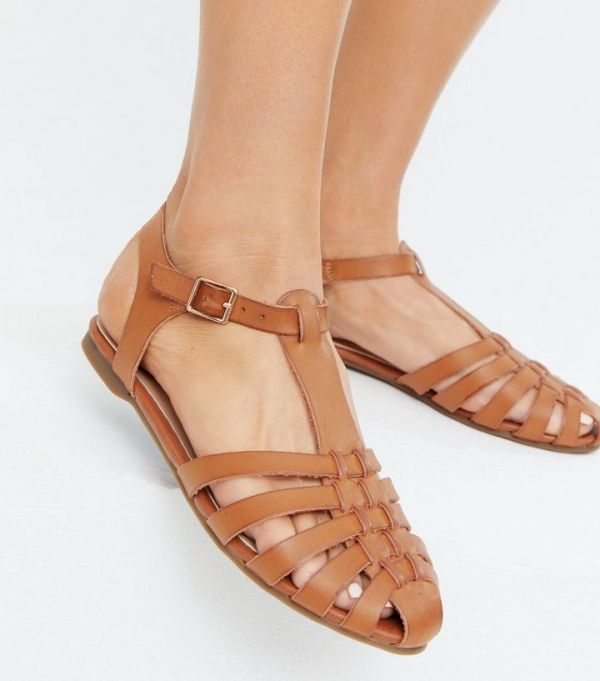 New Look Tan Leather-Look Caged Sandals
