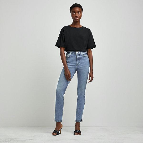 River Island Blue High-Waisted Slim Jeans