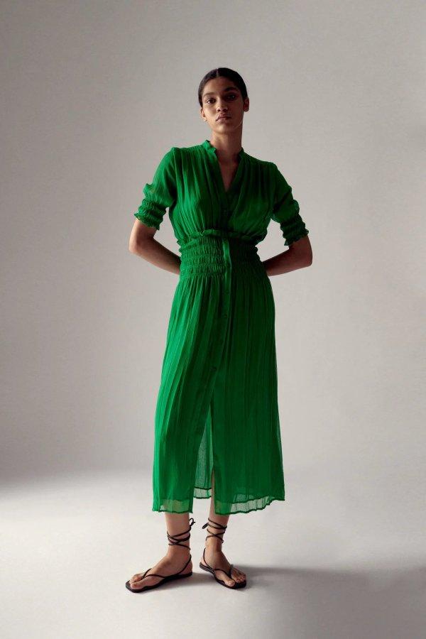 Zara Emerald Pleated Dress
