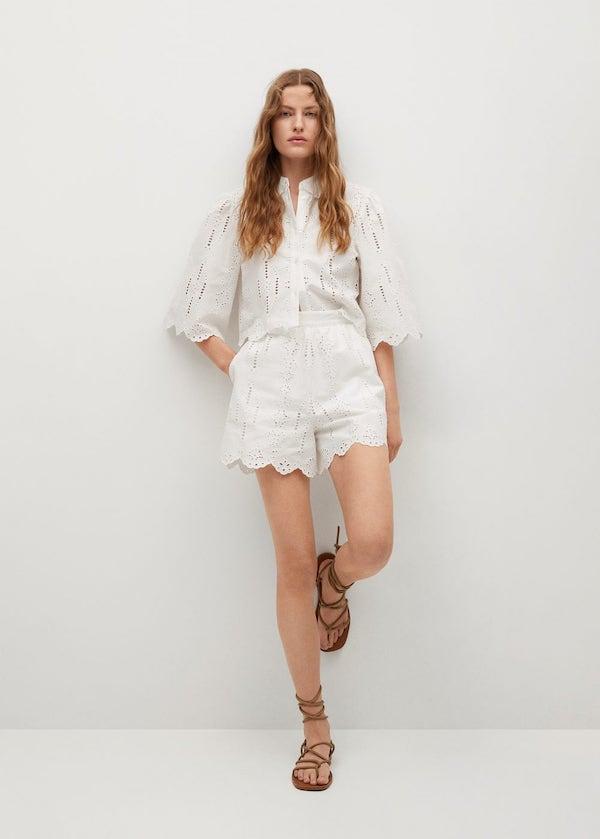 Mango Swiss Embroidery Linen Shorts